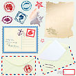 Postcard, Envelope And Paper With Retro Nautical Stamps - For Design And Scrapbook stock vector