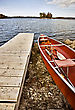 Active Potawatomi State Park Boat Rental Canoe Dock Wisconsin Sturgeon Bay stock photo