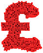 Pound Currency Symbol Made From Matrix Of Red Cubes Isolated On White stock illustration