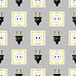 Power Plug Seamless Pattern On Grey Background