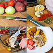 Preparation Of Baked Chicken With Potatoes, Collage Of 4