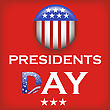 Presidents Day Icon Isolated On Red Background stock vector