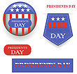 Presidents Day Icons Isolated On White Background