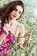 Pretty Curly Brunette Touching The Branch Of Flowering Tree stock photography