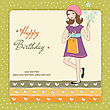 Pretty Girl With Gift And Flowers. Birthday Card In Vector Format