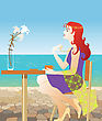 Coffee Pretty Girl In Summer Cafe stock illustration