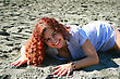 Pretty Woman On Beach In Limassol, Cyprus. stock photo