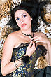 Pretty Young Brunette In A Corset Posing On Fur stock image