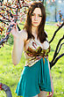 Pretty Young Brunette Touching The Branch Of A Blossoming Tree stock image