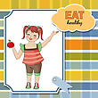 Pretty Young Girl Recommends Healthy Food, Vector Illustration stock vector