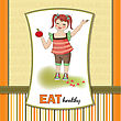 Overweight Pretty Young Girl Recommends Healthy Food, Vector Illustration stock illustration