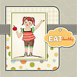 Pretty Young Girl Recommends Healthy Food, Vector Illustration stock illustration