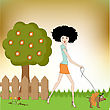 Personage Pretty Young Lady With Her Dog Dressed stock vector