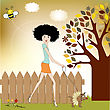 Pretty Young Lady With Her Dog Dressed stock vector