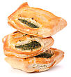 Puff Pastry Bun Isolated On White Background. Healthy Patty With Spinach stock photography