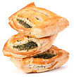 Puff Pastry Bun Isolated On White Background. Healthy Patty With Spinach