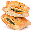 Puff Pastry Bun Isolated On White Background. Healthy Patty With Spinach stock image