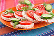 Puffed Rice Crackers Sandwiches With Vegetables On Plate stock photography