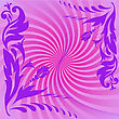 Purple Floral Composition On Swirling Pink Background stock vector