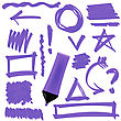 Purple Marker Isolated On White Background. Set Of Graphic Signs. Arrows, Circles, Correction Lines