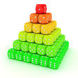 Pyramid From Many Multicolored Dice stock illustration