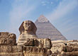 Pyramids and Sphynx in Egypt stock photo