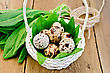 Quail Eggs In A White Wicker Basket With Sorrel, A Coil Of Rope On The Background Of Wooden Boards stock photo