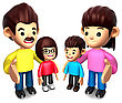 Business People Queue With The Happy A Family. 3D Family Character stock image