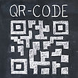 Binary Quick Response Code (qr-code) On A Blackboard, Chalk Drawing stock photo
