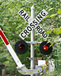 Signpost Railroad Crossing stock photo