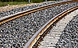 Railroad Tracks New Cement Ties In Saskatchewan Canada stock image