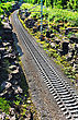 Railroad Tracks Run Between The Mountains stock photo