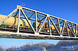 Railway Bridge Through Small River stock photography