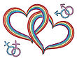 Rainbow Hearts With Gay Symbols.Vector Isolated