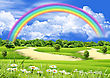 Herbs Rainbow In The Blue Sky Over A Glade stock image