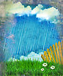 Raining Nature Landscape.Vintage Sky With Sun And Clouds On Old Paper