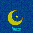 Ramadan Greetings Background. Ramadan Kareem Means Ramadan The Generous Month. Ramadan Greeting Card. Yellow Moon And Yellow Star On Blue Ornamental Background stock vector