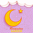 Ramadan Greetings Background. Ramadan Kareem Means Ramadan The Generous Month. Ramadan Greeting Card. Yellow Moon And Yellow Star On Pink Ornamental Background stock illustration