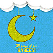 Ramadan Greetings Background. Ramadan Kareem Means Ramadan The Generous Month. Ramadan Greeting Card. Yellow Moon And Yellow Star On Blue Ornamental Background stock illustration