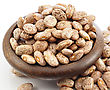 Raw Beans In A Bowl On White Background, Close Up