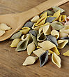 Raw Colorful Gourmet Pasta,Close Up stock image