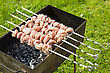 Shashlik Raw Meat Pieces Cooking On A Skewer stock photography