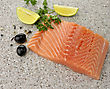 Fishfood Raw Salmon Fillet With Lemon And Spices ,Close Up stock photo