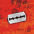 Razor Blade Icon On Grunge Red Background