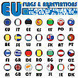 Realistic European Union Flags Buttons With Country Abbreviations
