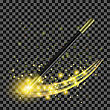 Realistic Magic Wand With Starry Lights On Checkered Background