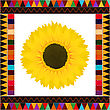 Realistic Sunflower Background On A Decorative Frame stock vector