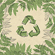 Recycle Symbol, Printed On Reuse Paper. In Frame Of Leaves. Vector Illustration, EPS10