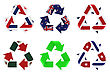 Recycling Symbol With Flags stock illustration