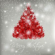 Red Abstract Christmas Tree On White Background With Lights And Snowflakes. Vector Illustration For Poster, Web, Greeting Card